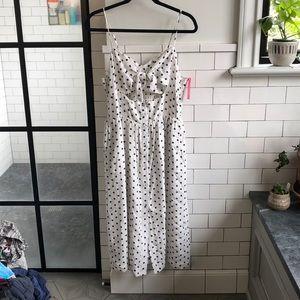 Xhilaration White Dress with Black Polka Dots XL